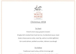 Easton White Horse Christmas menu